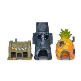 Fish Tank akwarium Decor dla SpongeBob i skalmar dom ananas Cartoon dom ozdoby do domu akcesoria do akwarium