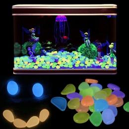 50 sztuk 100 pcsAquarium ozdoby kamienie Glow In The Dark Luminous kamyki kamienie na ogród Ornament akwarium dekoracyjne