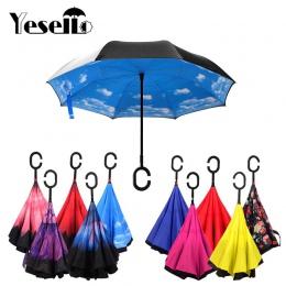 Yesello składany odwrócony parasol podwójna warstwa odwrócony wiatroszczelny parasol samochodowy dla kobiet