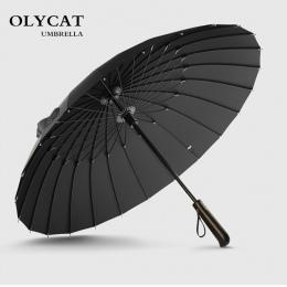Hot sprzedaż marka deszcz parasol mężczyźni jakości 24 K silne wiatroszczelna z włókna szklanego rama drewniana długa rączka par
