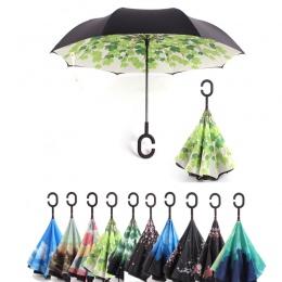 C uchwyt wiatroszczelna składany parasol mężczyzna kobiet słońce deszcz samochodów odwrócony parasole podwójna warstwa anty UV s