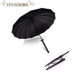 Stylowy czarny japoński samuraj miecz Ninja Katana parasol słoneczny i deszczowy długi uchwyt parasole półautomatyczne 8, 16 lub