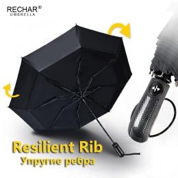 Srong wiatroszczelny automatyczny 3 składane parasol deszcz kobiety 8 żeber ze stopu aluminium ze stopu aluminium parasole dla m
