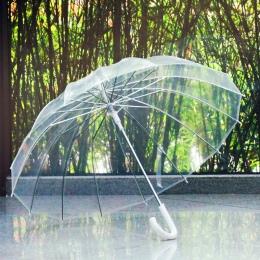 Półautomatyczne przezroczyste parasole do ochrony przed wiatrem i deszczem, długi uchwyt parasol jasne pole widzenia