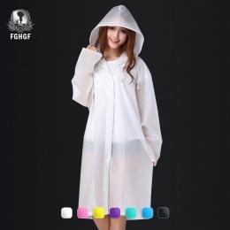 FGHGF moda kobiety mężczyźni dorosłych środowiska EVA przeźroczysty płaszcz przeciwdeszczowy z kapturem na deszcz płaszcz przeci