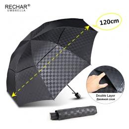Podwójna warstwa ciemna siatka duży Parasol deszcz kobiety 3 składane 10Rib wiatroszczelna biznes mężczyźni Parasol podróży dla