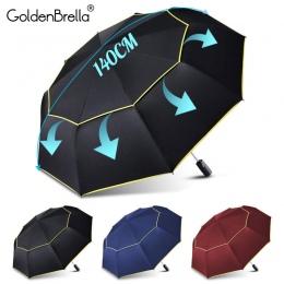 120 CM automatyczne podwójne duży parasol deszcz kobiety 3 składane odporny na wiatr, odporny na duży parasol mężczyźni rodzina