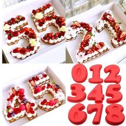 Deserowe silikonowe cyfrowe formy ciasto numery kształt deser narzędzie dekoracyjne na urodziny rocznica ślubu ręcznie 8A0908