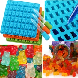 53 wnęka silikonowe Gummy niedźwiedź formy czekoladowe cukierki ekspres do tacka do lodu formy