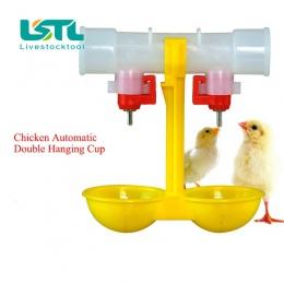 4 sztuk kurczaka poidło smoczkowe automatyczne Waterer laska podajnik fontanny podwójne wiszące Cup automatyczne Waterer miska k