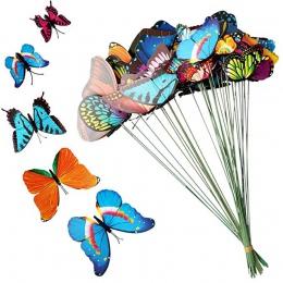15 sztuk/6 cm Lot sztuczny motyl dekoracje ogrodowe symulacji Butterfly Stakes podwórku roślin trawnik Decor fałszywy Butterefly
