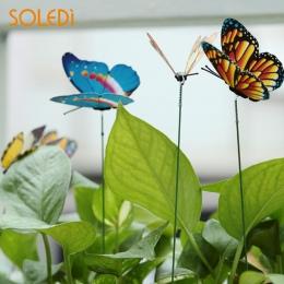 SOLEDI 15 sztuk/partia 3D sztuczny motyl dekoracje ogrodowe symulacji Butterfly Stakes podwórku roślin trawnik Decor fałszywy lo