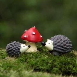 3 sztuk/zestaw ogród mech żywica rzemiosło sztuczne Mini jeż czerwoną kropką grzyby