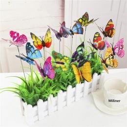 10 sztuk/partia sztuczny motyl dekoracje ogrodowe symulacji Butterfly Stakes podwórku roślin trawnik Decor fałszywy Butterefly l