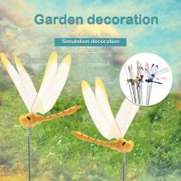 2 sztuk/DIY sztuczne ważka motyl ogród trawnik dekoracje 3D symulacja Dragonfly podwórku roślin trawnik Decor losowy kolor