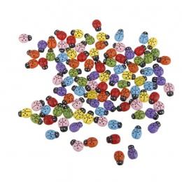 100 sztuk Mini biedronki naklejki w kształcie miniaturowy Ornament DIY Kit dla bajki ogród domek dla lalek wystrój roślin (miesz