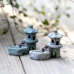 Minibasen wieża miniaturowy krajobraz DIY Ornament ogród dekoracja żywica