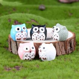 5 sztuk sowy miniaturowe Mini żywiczne Bonsai domu ogród mikro krajobraz soczyste doniczki Craft Fairy wystrój