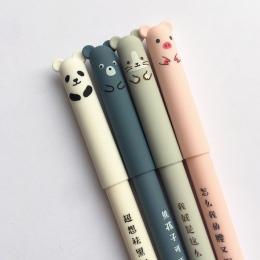 4 sztuk/partia długopis lub 10 sztuk do napełniania Panda różowa mysz kasowalna niebieski atrament długopis żelowy szkolne mater