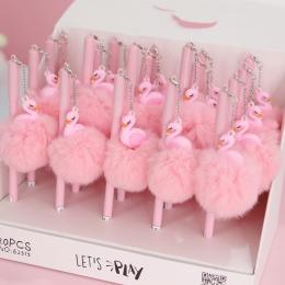 1 pc różowy Flamingo długopis żelowy piękny pluszowe łabędź długopisy szkolne pisania dziewczyna prezenty Kawaii neutralne długo