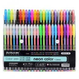 48 kolorów długopisy żelowe zestaw, brokat długopis żelowy do kolorowanki dla dorosłych czasopism rysunek modelowanie Art marker