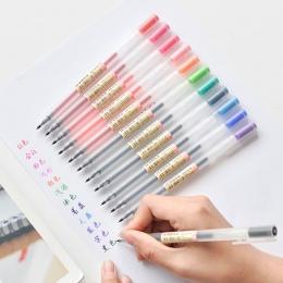 12 sztuk/partia kreatywny 12 długopisy żelowe w różnych kolorach 0.5mm kolor atramentu długopisy Marker pisanie piśmienne w styl