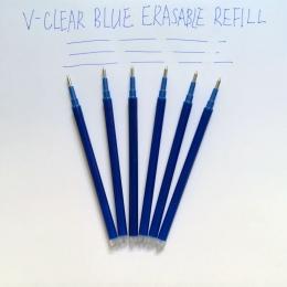 Magiczne zmazywalne pióro napełniania 0.7mm niebieski atrament długopis żelowy napełniania do pisania 6 sztuk pióro piśmiennicze