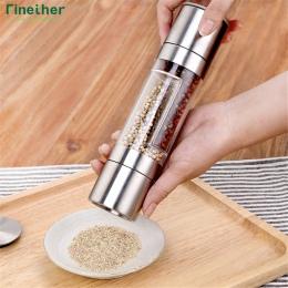 Finether młynek do pieprzu 2 w 1 ze stali nierdzewnej instrukcja sól i pieprz młynek przypraw narzędzia kuchenne akcesoria do go