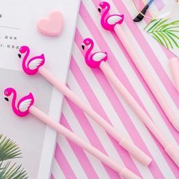 1 sztuk Kawaii Cartoon 0.38mm pisanie szczęście różowy Flamingo długopis żelowy długopis signature Escolar Papelaria szkolne mat