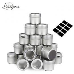 LMETJMA magnetyczne puszki przyprawy ze stali nierdzewnej zestaw pojemników na przyprawy z naklejki pieprzniczki sól pieprz zest