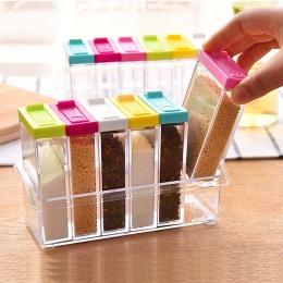 1 sztuk Spice Jar pudełko do przypraw 6 sztuk/zestaw przyprawa kuchenna butelka do przechowywania słoiki przezroczyste PP sól pi