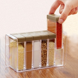 Akrylowe przezroczyste przyprawy słoik kolorowe pokrywy pudełko do przypraw 6 sztuk/zestaw narzędzia kuchenne sól flaszka przypr