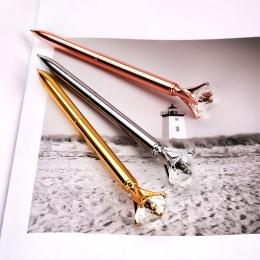 1 sztuk duży karatowy diament kryształowy długopis klejnot długopis pierścionek ślub biuro metalowy pierścień rolki różowe złoto