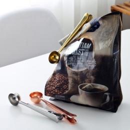 ETya 1 PC wielofunkcyjny ze stali nierdzewnej żywności łyżka mleka herbaty mielonej gałki do kawy z klips do torebek uszczelnien