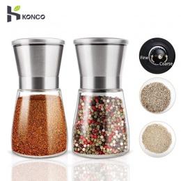 KONCO 2 sztuk młynek do soli i pieprzu młynek do wytrząsarek, pieprzu ze stali nierdzewnej młynki do przypraw zestaw z regulacją