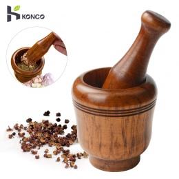 KONCO drewniany moździerz i tłuczek zestaw, mielone czosnek i imbir młynek Masher, świeże posiekany czosnek tarki do przyprawy s