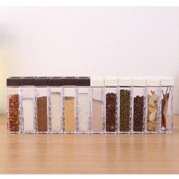 6 sztuk nowy przyprawa kuchenna słoik pudełko do przypraw przyprawa kuchenna butelka do przechowywania słoiki przezroczyste sól