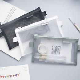 Proste przezroczysta siateczka piórnik biurowe uczeń ołówek przypadkach Nylon Kalem Kutusu szkolne pudełko na długopis Astuccio