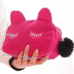 Duża pojemność pluszowa ołówek torba biurowe artykuły szkolne Kawaii biurowe piórnik ze wzorem z kreskówki Cute Cat dla dziewczy