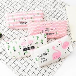 1 sztuk Kawaii piórnik flamingi płótno prezent Estuches piórnik szkolny piórnik ołówek torba szkolne materiały biurowe