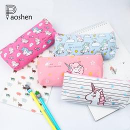 Cute Cartoon zwierząt jednorożec piórniki Kawaii płótno szkolne futerał na przybory do pisania Box dla szkoły dziewczyna Kalem K