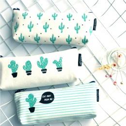Kaktus piórnik płótnie szkolne Kawaii biurowe Estuches Chancery School ładny ołówek pudełko pióro torby kary