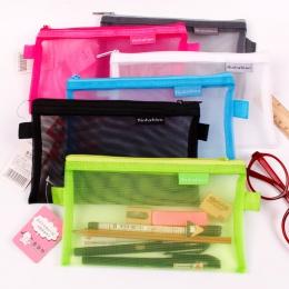 1 sztuk przezroczysty siatka Zipper Pen torba piórnik przechowywania pakiet dla Grils koreański papiernicze artykuły szkolne