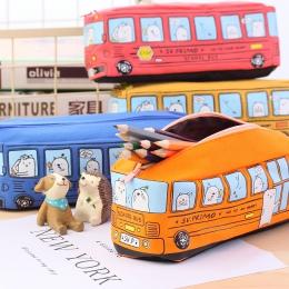 Śliczne School Bus piórnik, na ołówek o dużej pojemności torba, orange, czerwony, żółty, niebieski