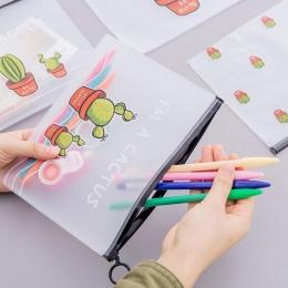 Śliczne kaktus etui na długopis piórnik do artykułów piśmienniczych do przechowywania torba na zamek błyskawiczny Student prezen