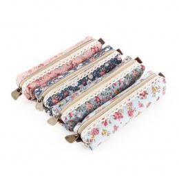 Mini Retro kwiat kwiatowy koronkowy piórnik, ołówek torba szkolne kosmetyczne makijaż torba na zamek błyskawiczny etui torebka,