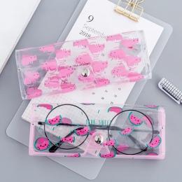 1 sztuk Cartoon zwierząt przezroczyste plastikowe okulary Protector Case z metalowym przyciskiem pudełko na okulary przeciwsłone