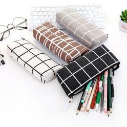 Papiernicze płótno piórnik szkoła ołówek torba proste paski siatki piórnik materiały biurowe pióro torba studenci ołówki pisanie