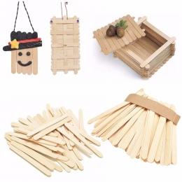 50 sztuk/partia kolorowe drewniane patyczki do lodów naturalne drewno lody kije dzieci DIY ręcznie rzemiosła sztuki lody na paty