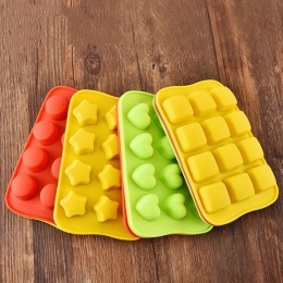 12 siatki silikonowe formy czekoladowe taca kreatywny gwiazda/serce/okrągłe/kwadratowe w kształcie kostki lodu narzędzie do deko